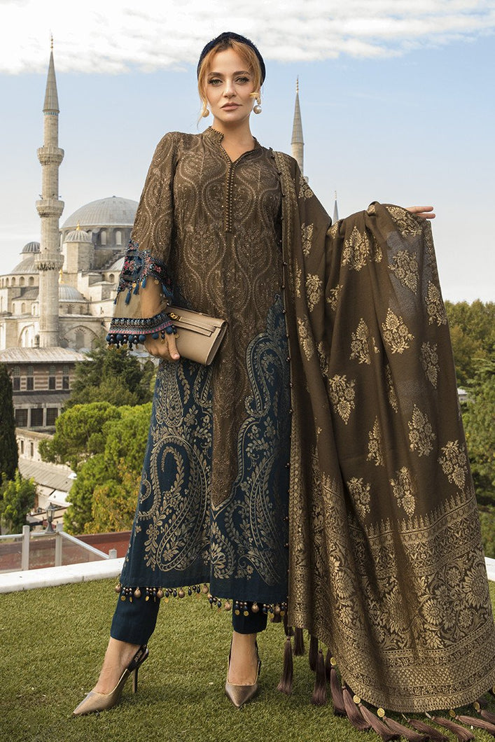 MARIA B | Linen Winter Collection DL-DL-810-Brown. Buy Maria B Pakistani Dresses Online at Lebaasonline & Look good with our latest collection of Indian & Pakistani designer winter wedding clothes, Lawn, Linen, embroidered sateen & new fashion Asian wear in the UK. Shop PAKISTANI DESIGNER WEAR UK ONLINE 2020 SUITS.