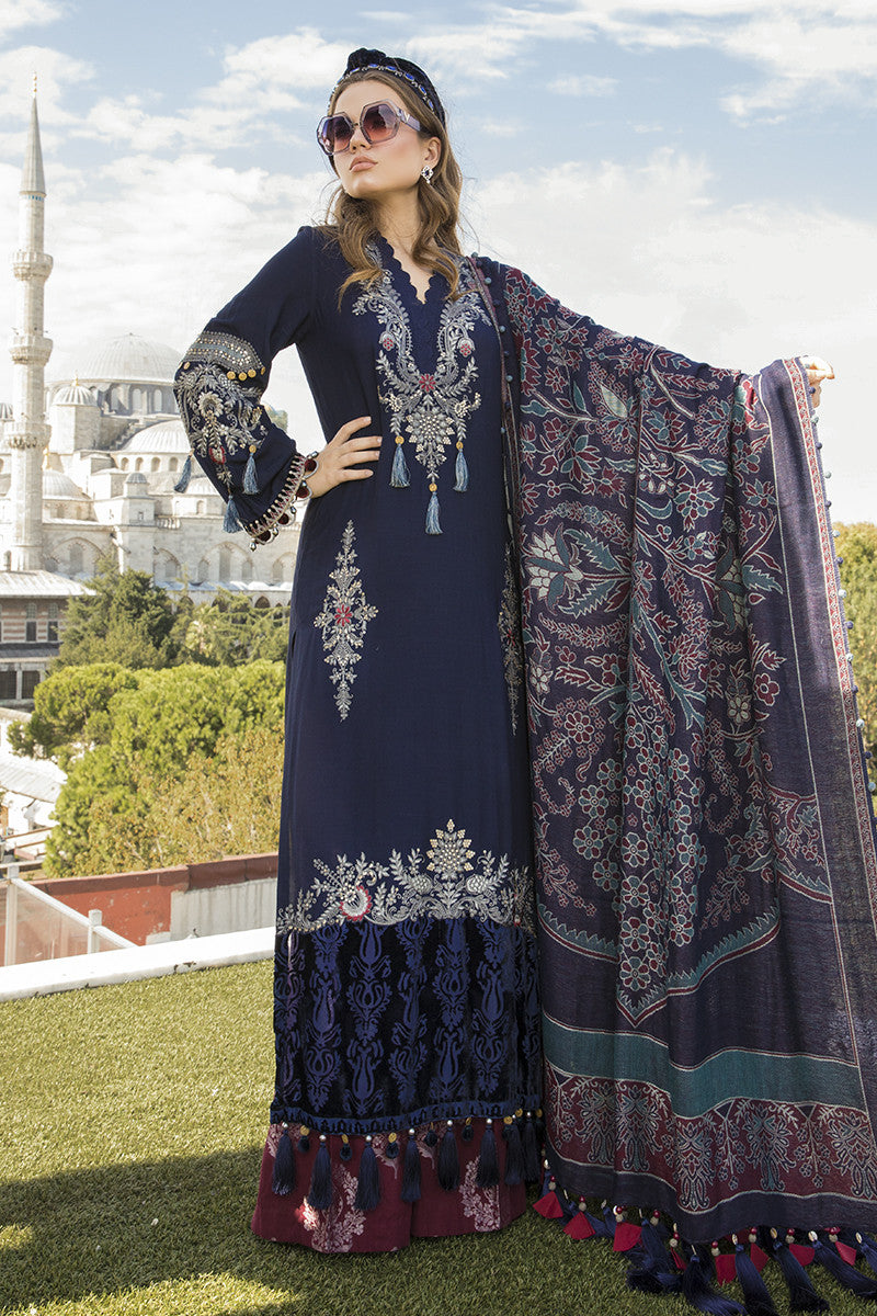 MARIA B | Linen Winter Collection DL-811-Navy Blue. Buy Maria B Pakistani Dresses Online at Lebaasonline & Look good with our latest collection of Indian & Pakistani designer winter wedding clothes, Lawn, Linen, embroidered sateen & new fashion Asian wear in the UK. Shop PAKISTANI DESIGNER WEAR UK ONLINE 2020 SUITS.