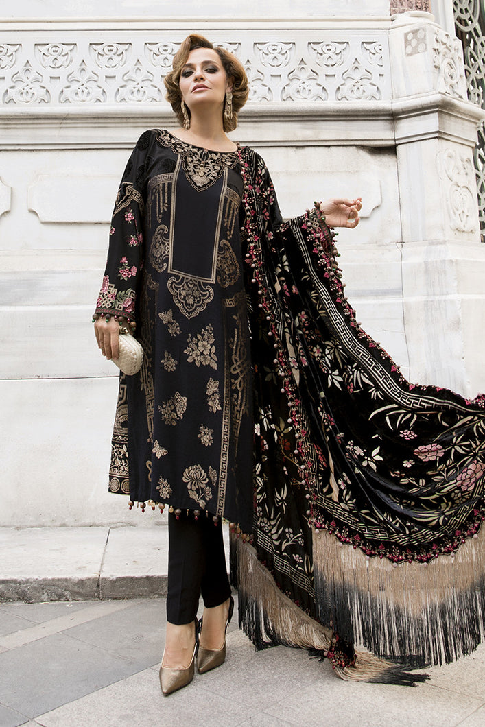 MARIA B | Linen Winter Collection DL-812-Black. Buy Maria B Pakistani Dresses Online at Lebaasonline & Look good with our latest collection of Indian & Pakistani designer winter wedding clothes, Lawn, Linen, embroidered sateen & new fashion Asian wear in the UK. Shop PAKISTANI DESIGNER WEAR UK ONLINE 2020 SUITS.