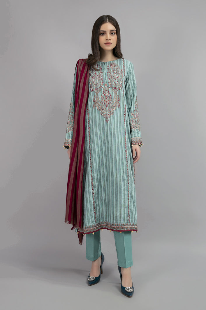 Buy Maria B Suit Blue DW-W20-23 Ready to Wear and Stitched. Straight shirt with embroidered border and sleeves paired with tissue embroidered gharara and contrast two toned foiled printed dupatta. Shop Now  Maria b original dress from Maria b boutique & Party at LebaasOnline in the UK and USA at Best Price!