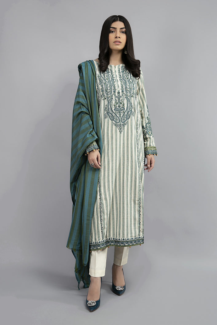 Buy Maria B Suit Off White DW-W20-23 Ready to Wear and Stitched. Straight shirt with embroidered border and sleeves paired with tissue embroidered gharara and contrast two toned foiled printed dupatta. Shop Now  Maria b original dress from Maria b boutique & Party at LebaasOnline in the UK and USA at Best Price!