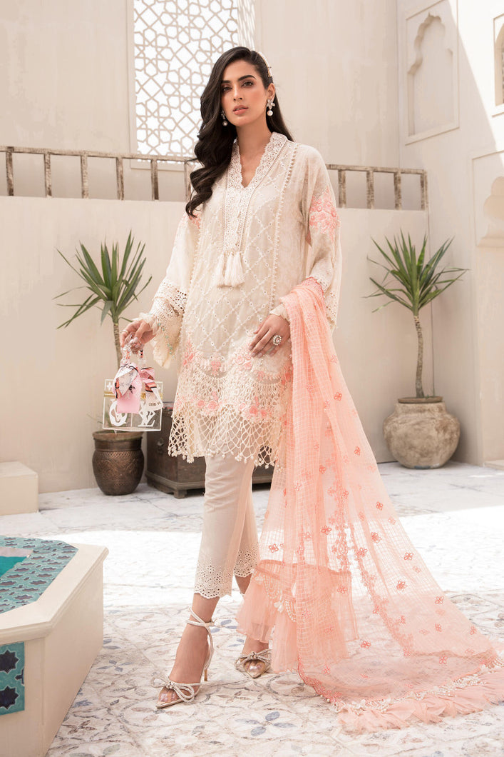Buy MARIA.B. Lawn Eid Collection 2021 D5 White and Peach Lawn Eid 2021 dress unstitched and Stitched. MARIA B EID COLLECTION 2021 Rejoice this Eid ambiance with balance of dynamic hues with NEW Pakistani designer clothes 2021 from the top designer such as MARIA. B online in UK USA Express shipping to London Manchester