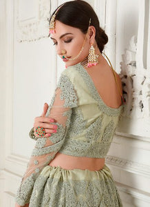Teal Grey Bridal Embroidered Lehenga by Alizeh - LebaasOnline
