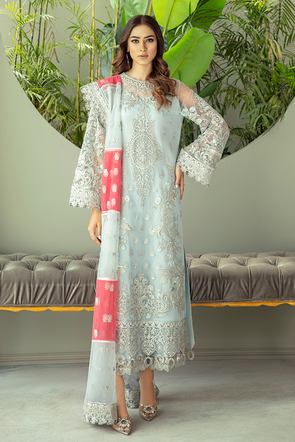 IMORIZA PREMIUM EMBROIDERY  I-131 Blue Chiffon Eid dress exclusively from us We are largest stockist of Imrozia Premium Chiffon collection Maria b and all other Pakistani designer clothes The fine embroidery and subtle color of the dress are great combinations for Eid outfits. Buy from Lebaasonline in UK Spain, Austria
