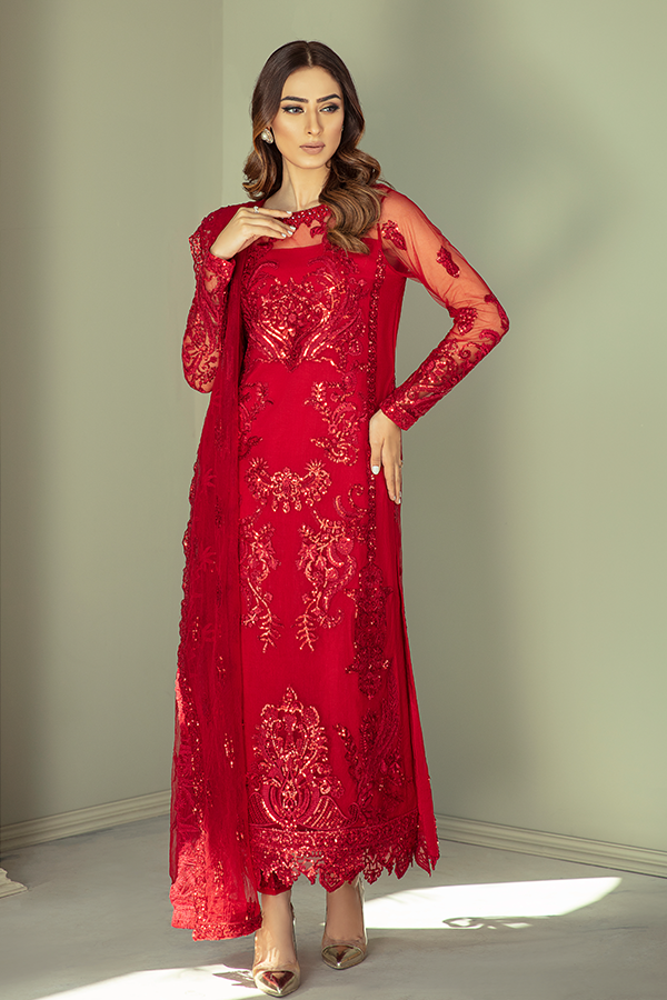 IMROZIA PREMIUM EMBROIDERY  I-132 Red Chiffon Eid outfit exclusively from us We are largest stockist of Imrozia Premium Chiffon collection Maria b and all other Pakistani designer clothes The fine embroidery and subtle color of the dress are great combinations for Eid outfits. Buy from Lebaasonline in UK Spain Austria