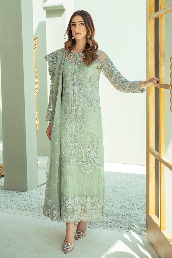 IMROZIA PREMIUM EMBROIDERY  I-135 Green Chiffon dress pak exclusively from us We are largest stockist of Imrozia Premium Chiffon collection Maria b and all other Pakistani designer clothes The fine embroidery and subtle color of the dress are great combinations for Eid dresses Buy from Lebaasonline in UK Spain Austria