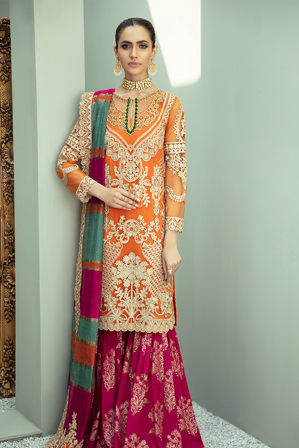 IMROZIA PREMIUM EMBROIDERY  I-136 Orange Chiffon dress pak exclusively from us We are largest stockist of Imrozia Premium Chiffon collection Maria b and all other Pakistani designer clothes The fine embroidery and subtle color of the dress are great combinations for Eid dresses Buy from Lebaasonline in UK Spain Austria
