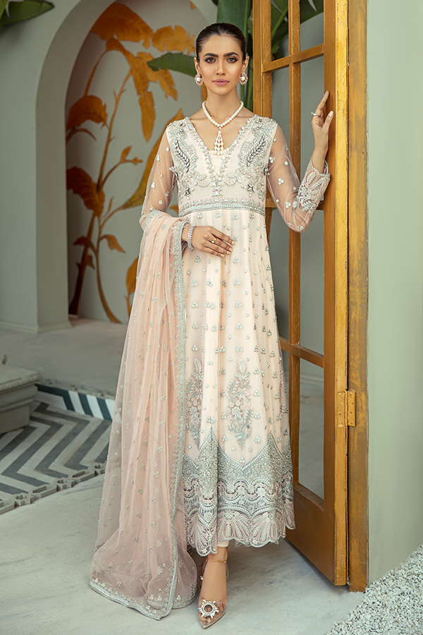 IMROZIA PREMIUM EMBROIDERY  I-137 Pink Chiffon dress pak exclusively from us We are largest stockist of Imrozia Premium Chiffon collection Maria b and all other Pakistani designer clothes The fine embroidery and subtle color of the dress are great combinations for Eid dresses Buy from Lebaasonline in UK Spain Austria