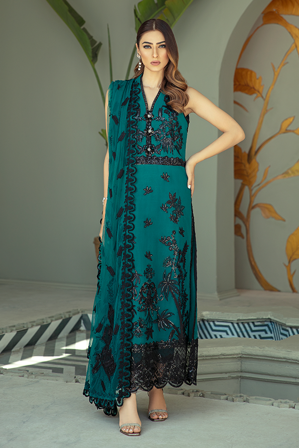 IMROZIA PREMIUM EMBROIDERY  I-138 Green Chiffon Eid dress exclusively from us We are largest stockist of Imrozia Premium Chiffon collection Maria b and all other Pakistani designer clothes The fine embroidery and subtle color of the dress are great combinations for Eid outfits. Buy from Lebaasonline in UK Spain Austria