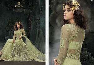 Zoya Designer sparkling Anarkali Suit English green - LebaasOnline