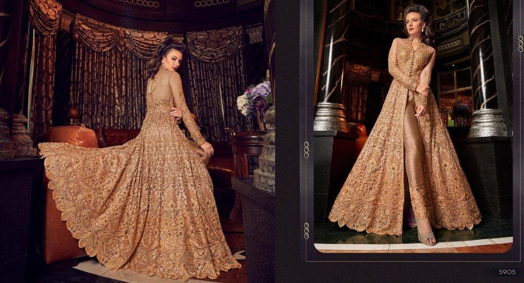 Golden Embroidered Anarkali Dress - LebaasOnline