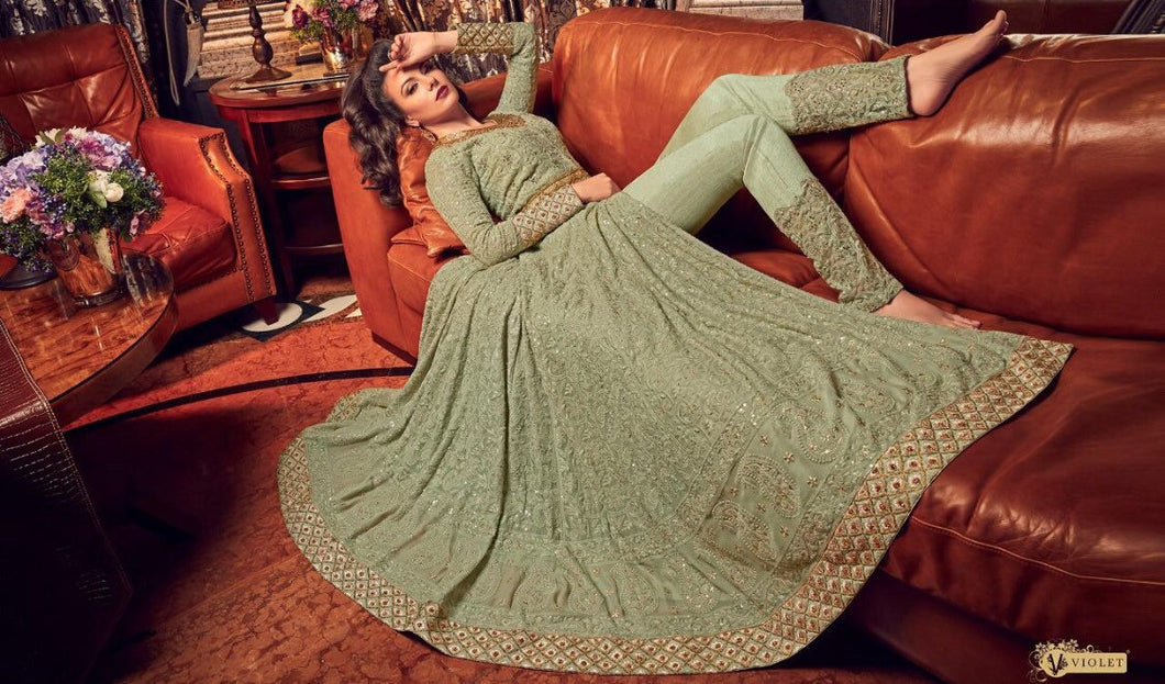 Pista Green Anarkali Dress - LebaasOnline