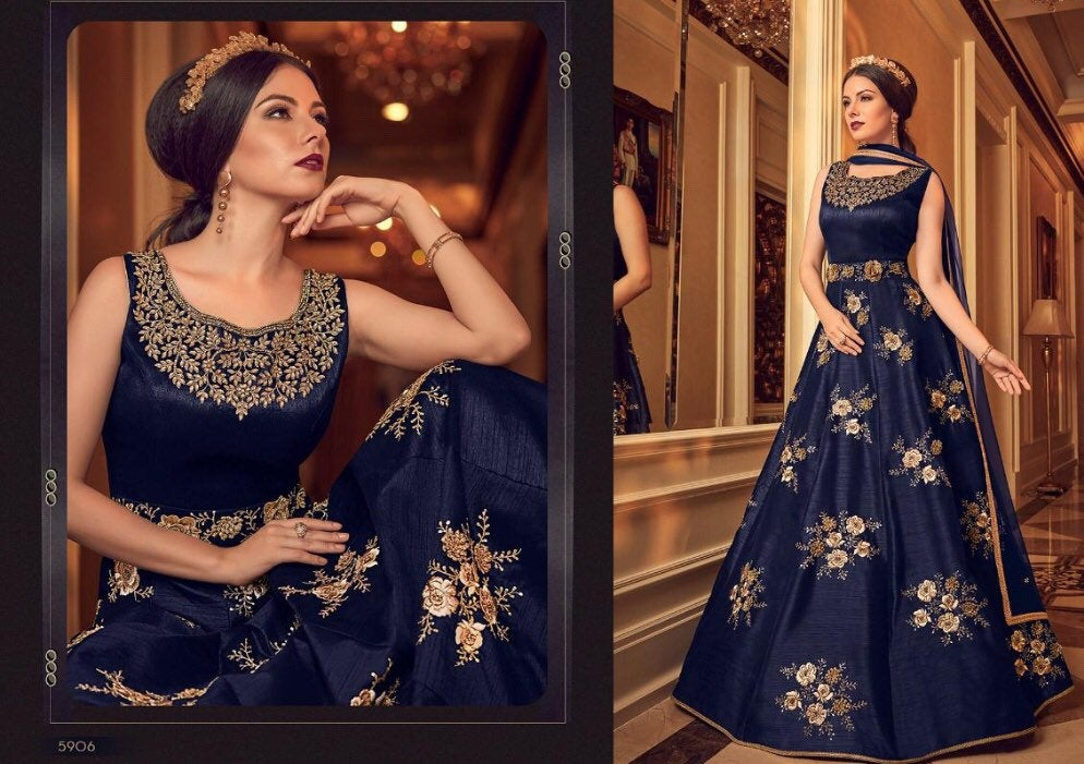 Midnight Blue Anarkali Dress with golden embroidery - LebaasOnline