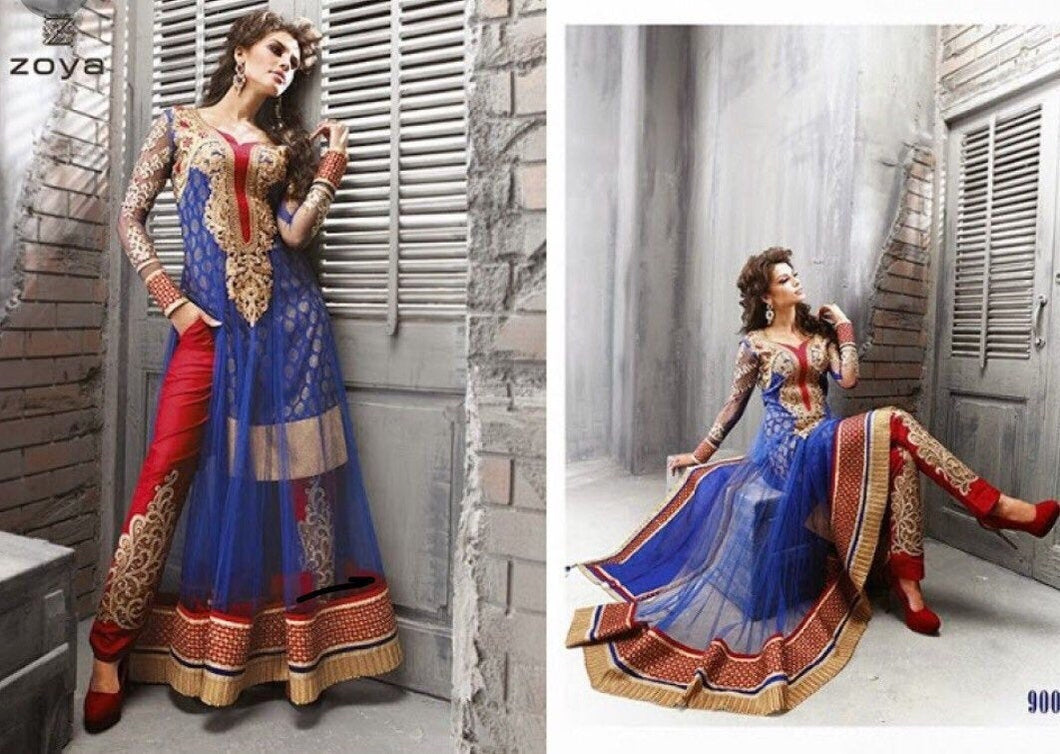 ZOYA- Forever Blue Designer Anarkali Dress - LebaasOnline