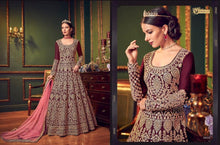 Load image into Gallery viewer, Highly embroidered Anarkali Dress in Santoon Silk - LebaasOnline