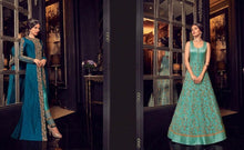 Load image into Gallery viewer, Navy and Turquoise Anarkali Dress - LebaasOnline