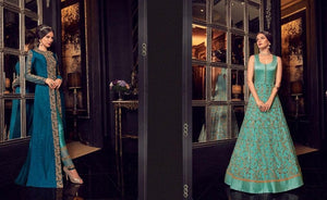 Navy and Turquoise Anarkali Dress - LebaasOnline