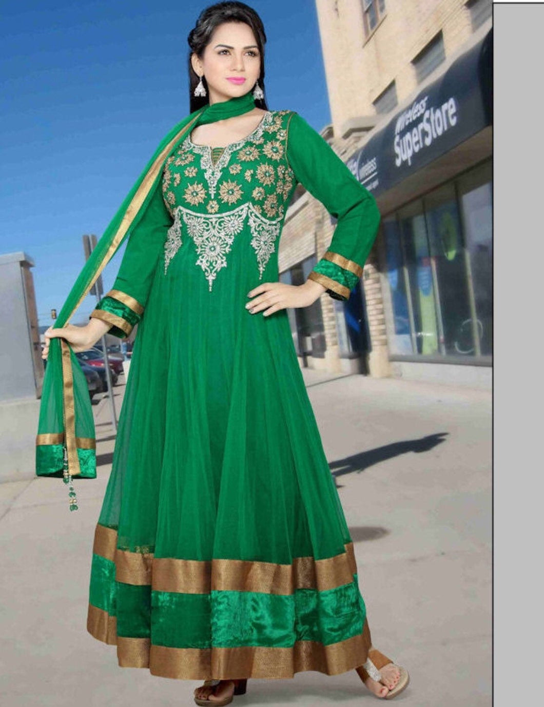 Shamrock green Anarkali dress - LebaasOnline