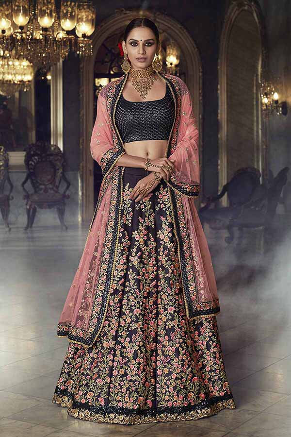 Nakkashi Designer Lehnga choli in black and pink - LebaasOnline