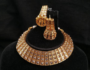 Panachee High  glazed necklace set with jhumka earnings - LebaasOnline