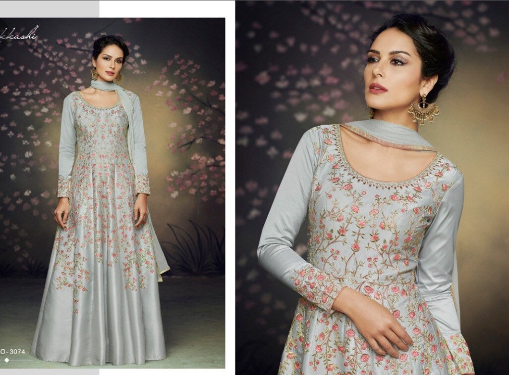 RARE -silk nakashi designer gowns | Indian dress online| Sale dresses | Anarkali Gowns for women | Bollywood dress 2019 - LebaasOnline