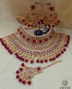 AMANII Crystal Collection: classic Indian bridal Jewellery sets - LebaasOnline