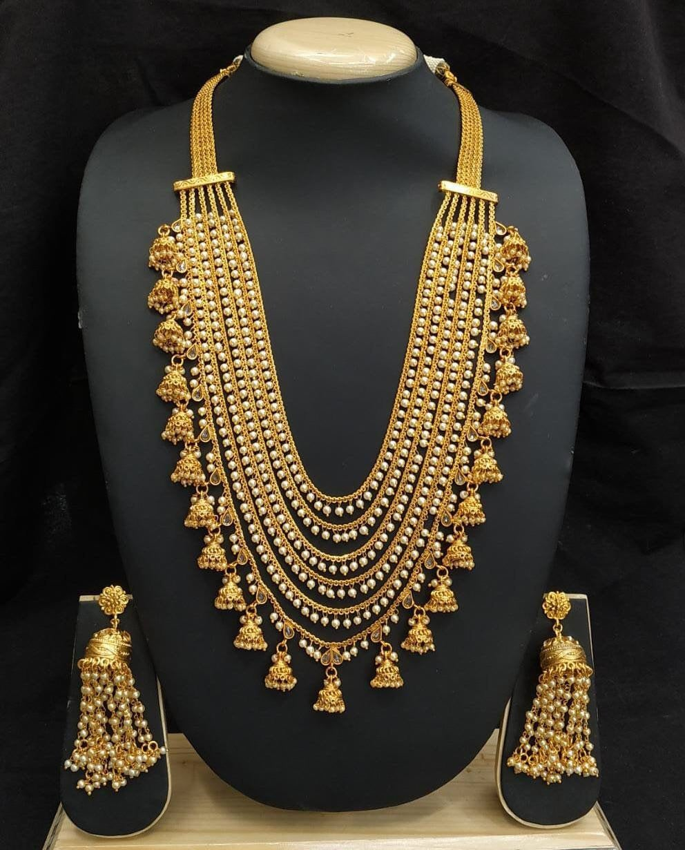 Bahubali Necklace Set Golden Rani Haar - LebaasOnline