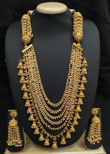 Load image into Gallery viewer, Bahubali Necklace Set Golden Rani Haar - LebaasOnline