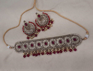 JANVI Antique Gold chocker sets - LebaasOnline