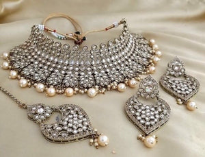 Bollywood fashion designer chocker set CRYSTALS & PEARLS - - LebaasOnline