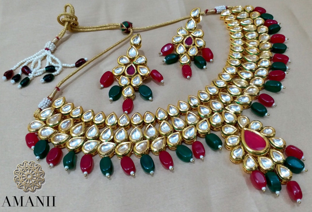 Emerald  and rubi necklace set - LebaasOnline