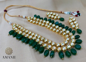 Emerald Bollywood Rani Haar Indian jewellery set - LebaasOnline