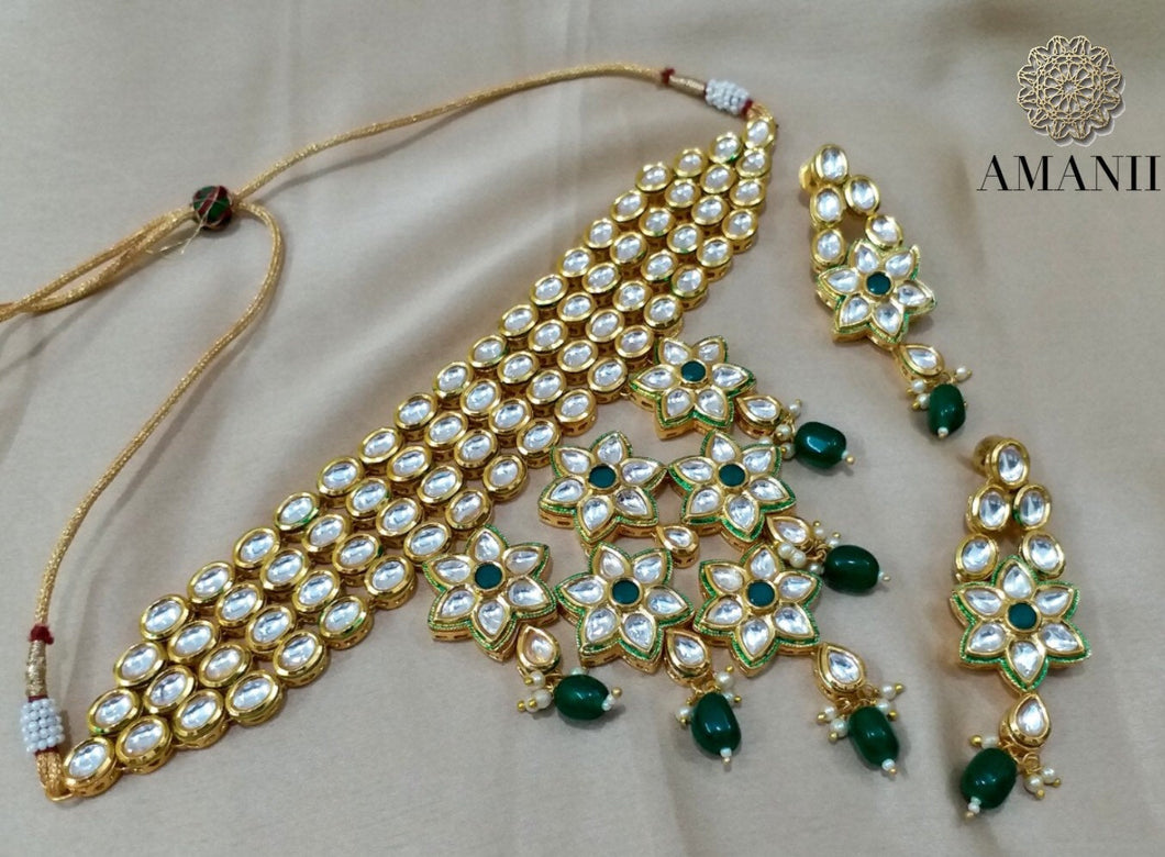 Kundan Polki Necklace in Gold and Green - LebaasOnline
