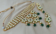 Load image into Gallery viewer, Kundan Polki Necklace in Gold and Green - LebaasOnline