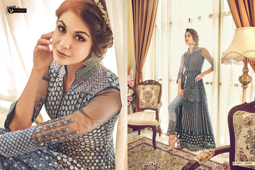 SNOWWHITE - Swagat 2019 Indian Designer Dress in Bluish Grey - LebaasOnline