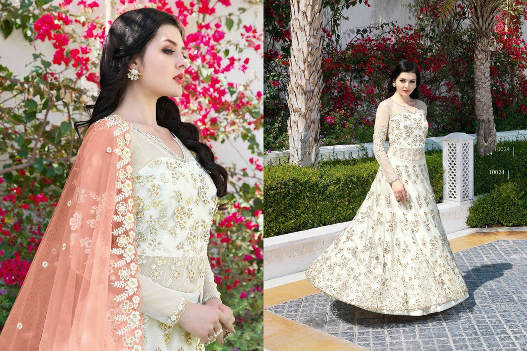 RAZZI 2019 latest Anarkali Suits In white shade - LebaasOnline
