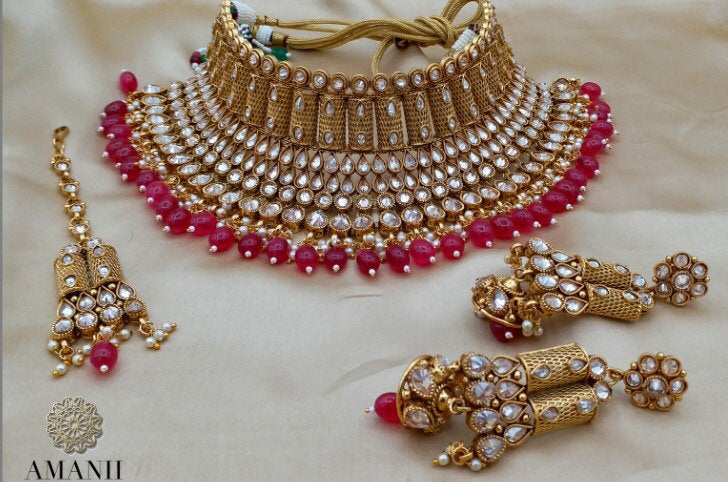 Gold & Red Bridal Jewellery Chocker Necklace Set - LebaasOnline