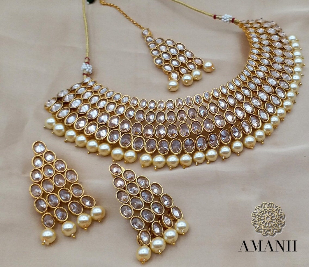 Stylish Polki Diamond Necklace Sets - LebaasOnline