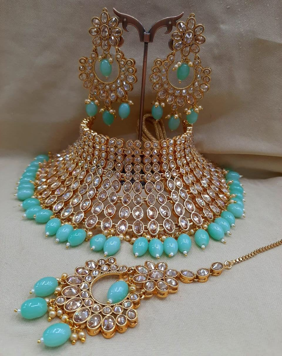 BOLLYWOOD BRIDE-  kundan chocker set - LebaasOnline