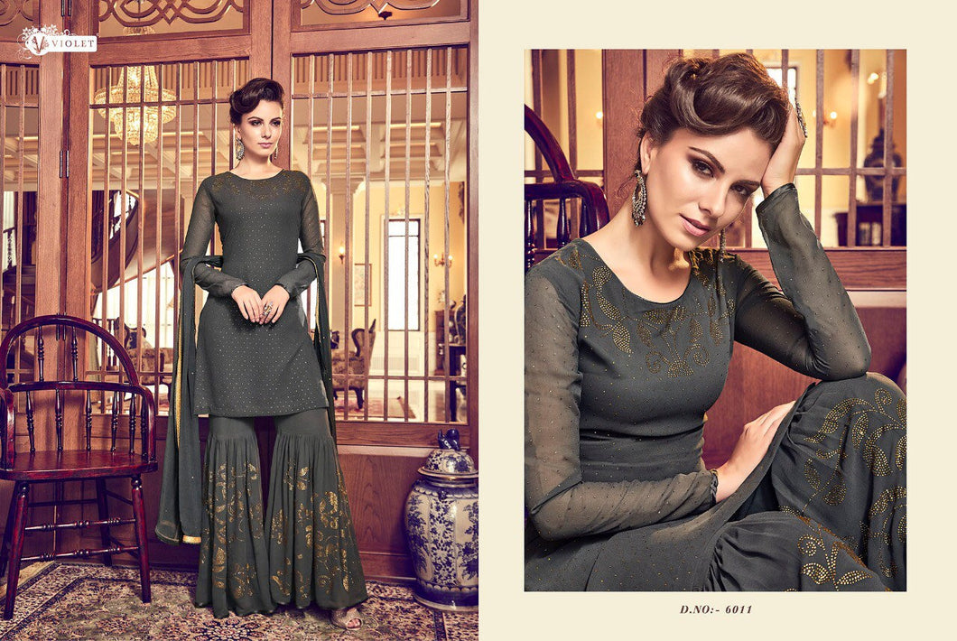 SNOWWHITE - Swagat 2019 dress - olive grey - LebaasOnline