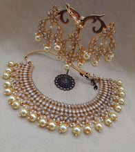Load image into Gallery viewer, Pearl & Crystals Indian jewellery Choker set - LebaasOnline