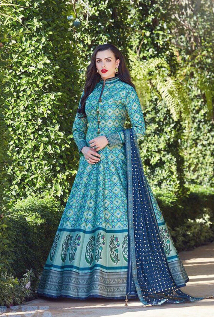VIRASAT- Vibrant Summer Silk Floor Length Gowns - LebaasOnline