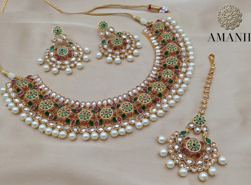 Tradition Meenakari Jewellery sets with Pearls - LebaasOnline