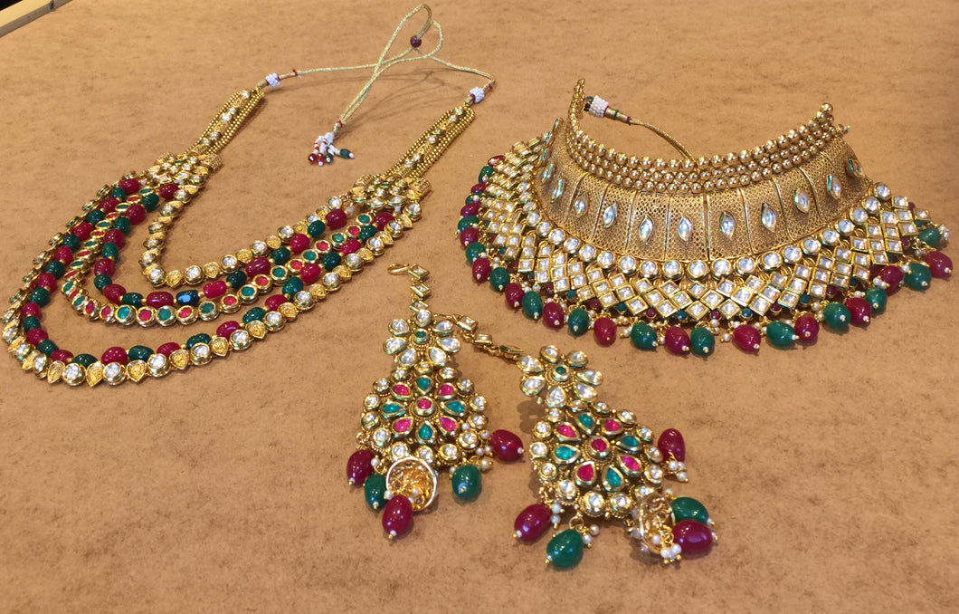 RAANIHAR- Rajwadi lndian wedding jewellery set| Gold plated Indian Bollywood Choker Necklace Set with Earrings |Tikka Headpiece|raanihaar - LebaasOnline