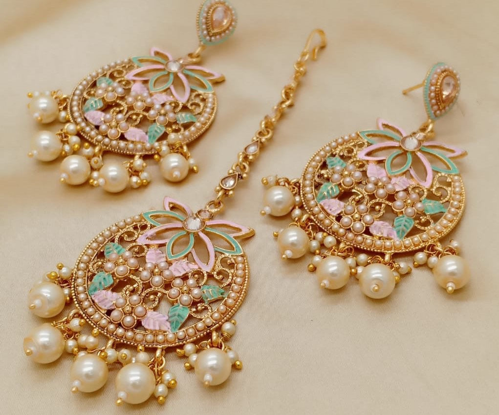 Meenakari Chandbali Earrings with head jewellery set - LebaasOnline