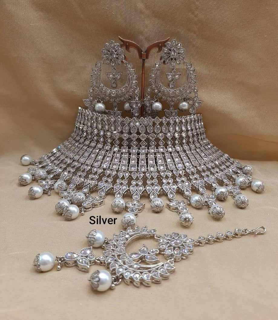 Silver Crystals Indian wedding jewellery - LebaasOnline