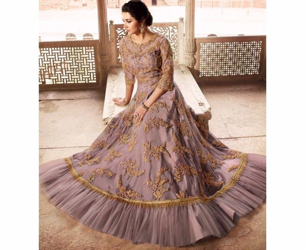 Sampann Indian designer gown in lilac - LebaasOnline