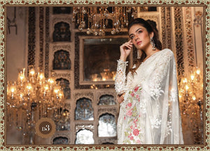 White Saree by Maria B Mbroidered Heritage Chiffon Collection - LebaasOnline
