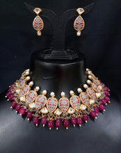 Load image into Gallery viewer, Sabyasachi Inspired Bridal Jewlry Necklace Set in Rubi - LebaasOnline