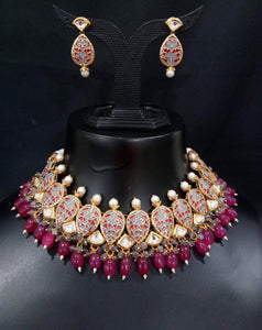 Sabyasachi Inspired Bridal Jewlry Necklace Set in Rubi - LebaasOnline